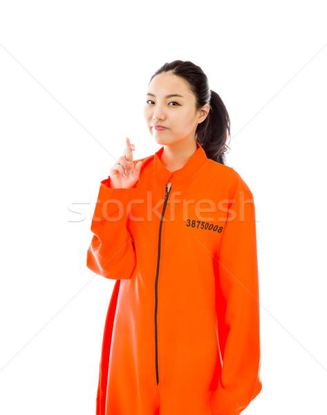Jovem asiático mulher uniforme em pé dedo Foto stock © bmonteny