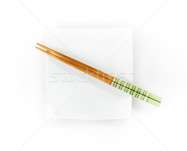 箸 プレート 孤立した 白 ストックフォト © bmonteny