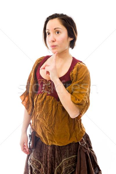 Mulher jovem em pé dedo queixo caucasiano Foto stock © bmonteny