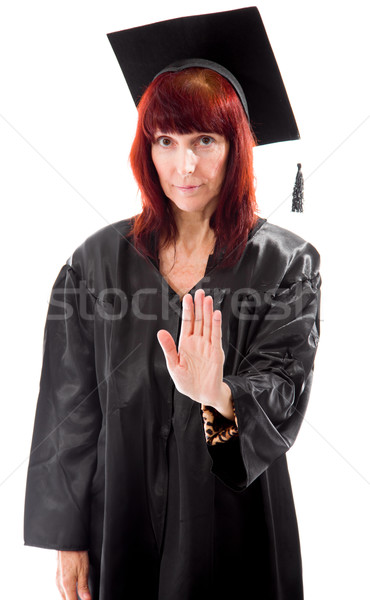 Mature student making stop gesture sign Stock photo © bmonteny