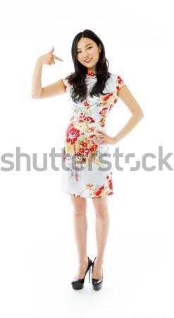ázsiai fiatal nő kiált kezek fül nő Stock fotó © bmonteny