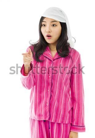 Fiatal ázsiai nő felajánlás kéz kézfogás Stock fotó © bmonteny