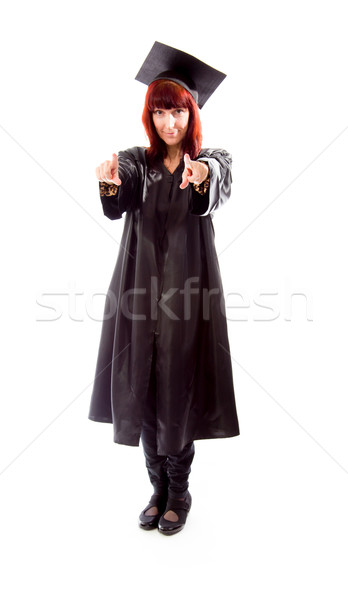 Mature student pointing with both hands Stock photo © bmonteny