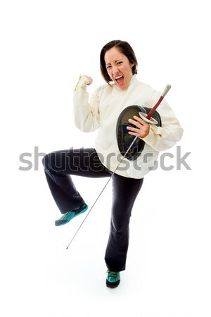 Female fencer celebrating success Stock photo © bmonteny