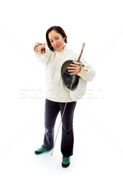 Female fencer pointing towards camera Stock photo © bmonteny