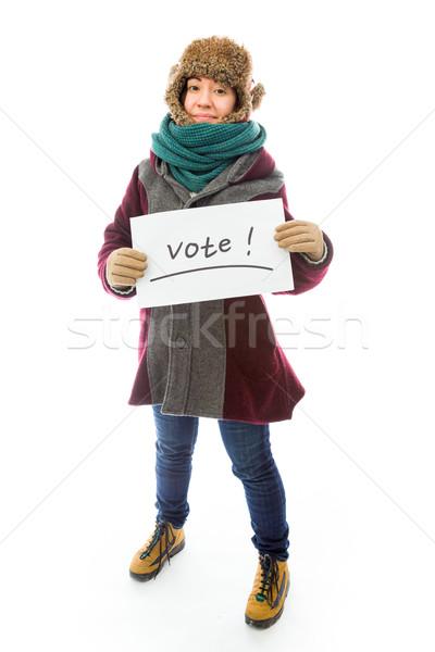 Ropa de abrigo votación signo blanco Foto stock © bmonteny