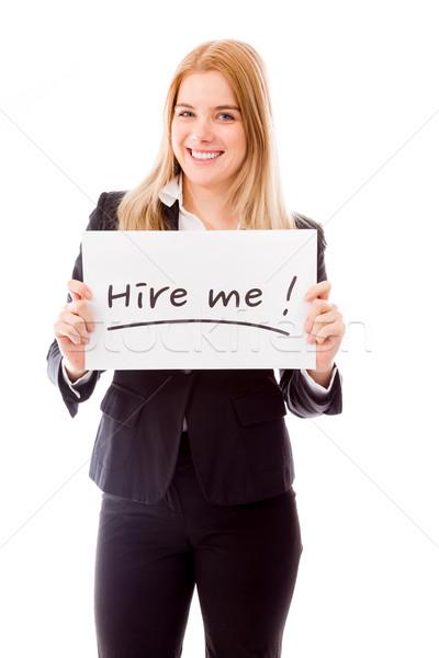 ストックフォト: 女性実業家 · メッセージ · ボード · 文字 · 単語
