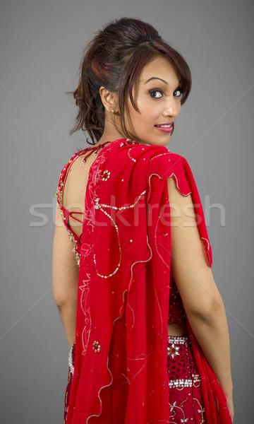 Yan profil Hint genç kadın gülen yetişkin Stok fotoğraf © bmonteny