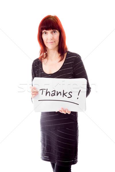 érett nő mutat köszönet felirat fehér kommunikáció Stock fotó © bmonteny