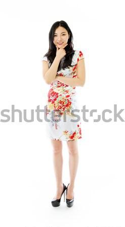 Asia pie mano barbilla zapato Foto stock © bmonteny
