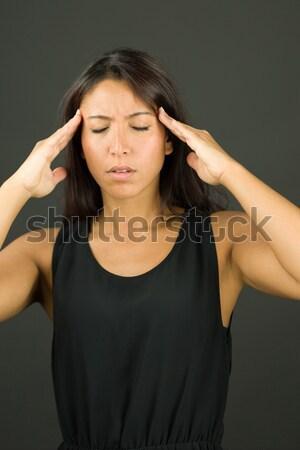 ázsiai fiatal nő szenvedés fejfájás fájdalom szomorúság Stock fotó © bmonteny