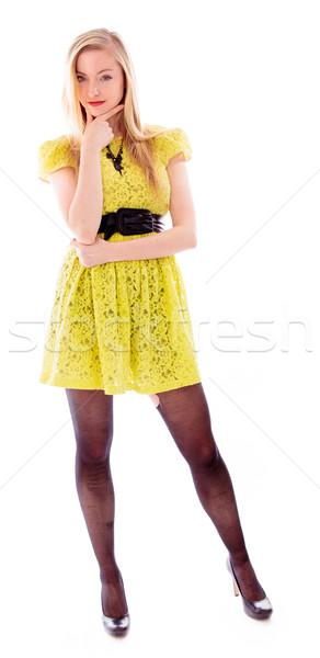 Gyönyörű fiatal nő áll portré cipő ruha Stock fotó © bmonteny