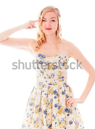 Young woman making heart shape with hands Stock photo © bmonteny