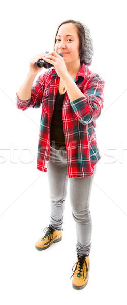 Genç kadın dürbün kafkas kadın Stok fotoğraf © bmonteny