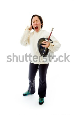 Female fencer scolding Stock photo © bmonteny