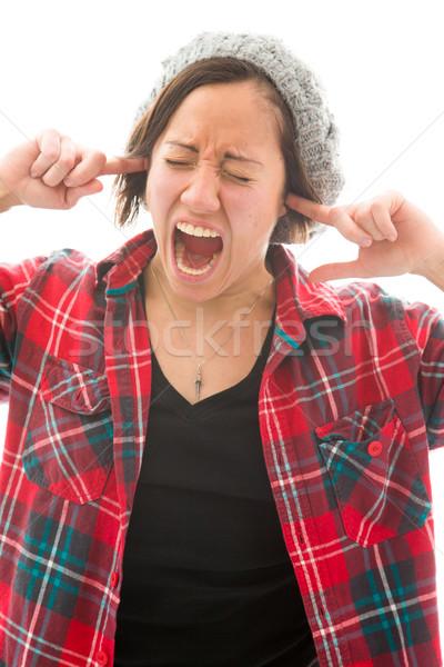 Genç kadın parmaklar kulaklar kafkas Stok fotoğraf © bmonteny