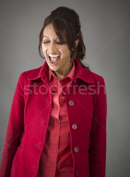 Indiai fiatal nő néz izgatott felnőtt nő Stock fotó © bmonteny