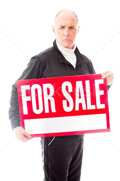 Idős férfi mutat vásár felirat férfiak Stock fotó © bmonteny