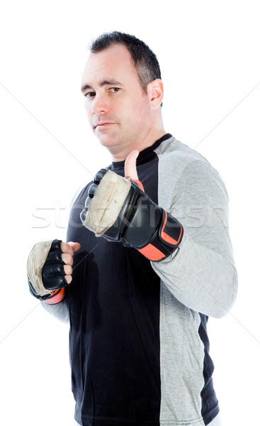 Kaukasisch bokser 40 jaar oude geïsoleerd witte Stockfoto © bmonteny