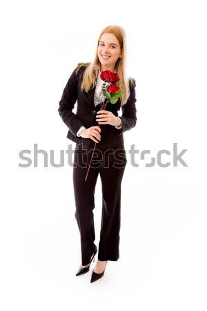 Businesswoman holding a red rose flower Stock photo © bmonteny