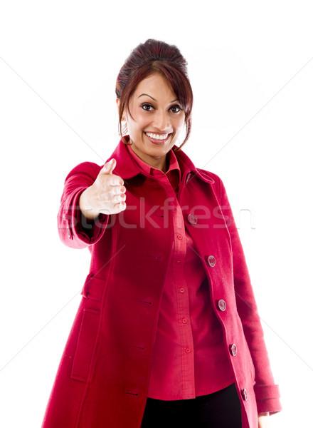 Indiano mulher jovem oferta mão aperto de mão adulto Foto stock © bmonteny