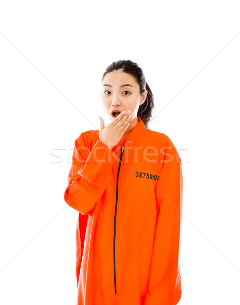 Young Asian woman with shocked expression in prisoner uniform Stock photo © bmonteny