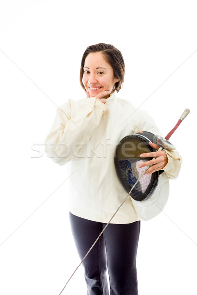 Female fencer smiling with her hand on chin Stock photo © bmonteny
