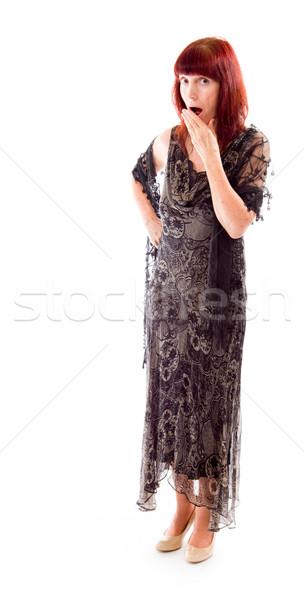 Mulher madura mão boca choque mulher retrato Foto stock © bmonteny