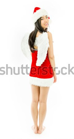 Sexy asian santa claus worried with her fingers crossed Stock photo © bmonteny