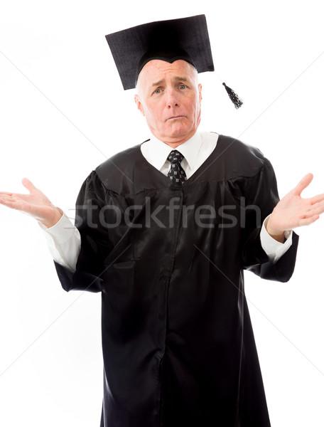 Idős férfi diplomás oktatás kommunikáció fekete Stock fotó © bmonteny