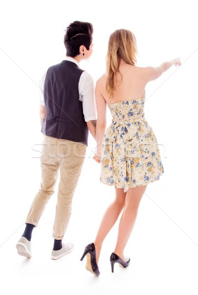 Hátsó nézet nő mutat valami leszbikus partner Stock fotó © bmonteny
