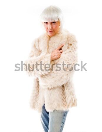 肖像 シニア 女性 立って 写真 毛皮 ストックフォト © bmonteny