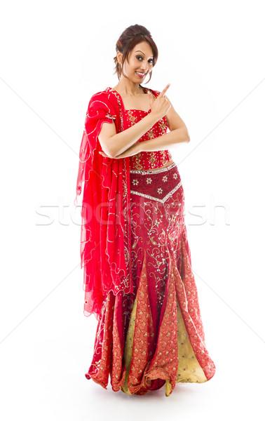 Fiatal indiai nő készít mosolygós arc felnőtt Stock fotó © bmonteny