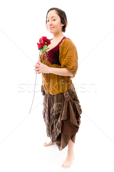 Young woman holding red rose Stock photo © bmonteny