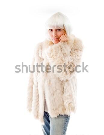 Idős nő suttog fehér áll bizalom Stock fotó © bmonteny