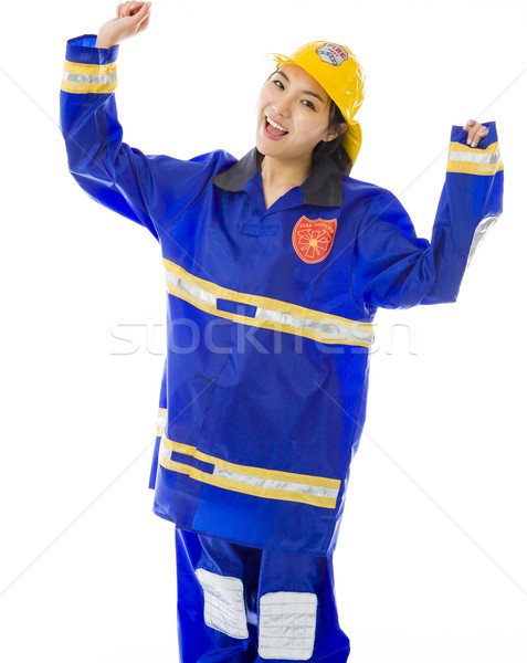 Lady firefighter celebrating success Stock photo © bmonteny