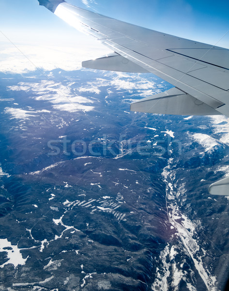 Aerial view of mountain range viewed from airplane, Alberta's Ro Stock photo © bmonteny