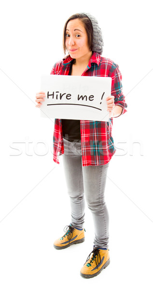 Young woman showing hire me sign Stock photo © bmonteny
