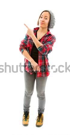 Fiatal nő mutat valami fiatal felnőtt kaukázusi nő Stock fotó © bmonteny