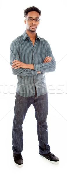 çekici adam poz stüdyo yalıtılmış siyah Stok fotoğraf © bmonteny