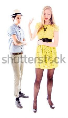 Lesbische paar permanente Maakt een reservekopie liefde Stockfoto © bmonteny