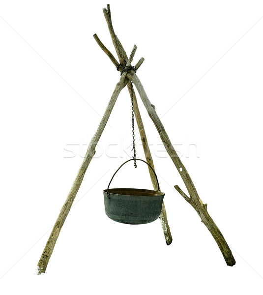 medieval tripod cooking stand isolated on a white background Stock photo © bmonteny