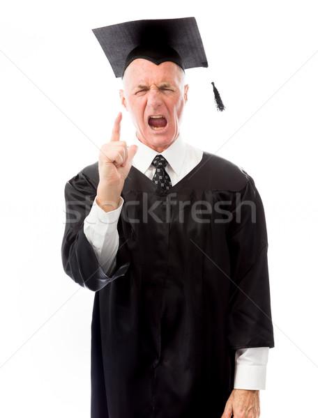 Senior male graduate scolding somebody Stock photo © bmonteny