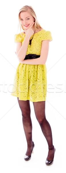 Belo mulher jovem em pé rosto sorridente diversão Foto stock © bmonteny