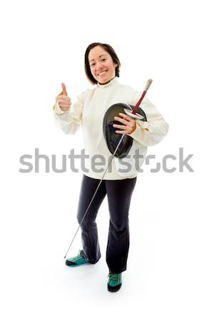 Female fencer standing with her hand on hip Stock photo © bmonteny