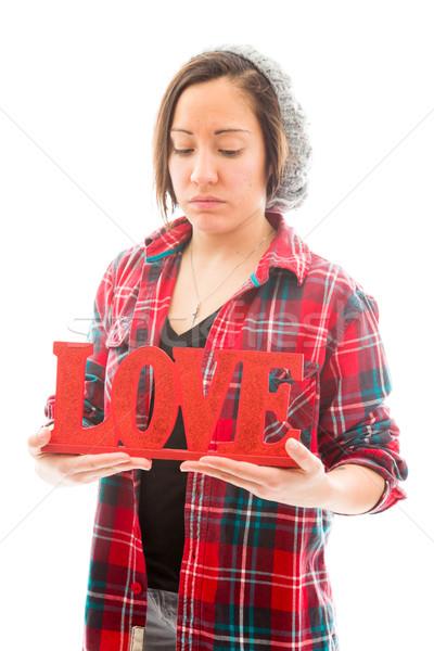 Genç kadın sevmek metin kafkas Stok fotoğraf © bmonteny