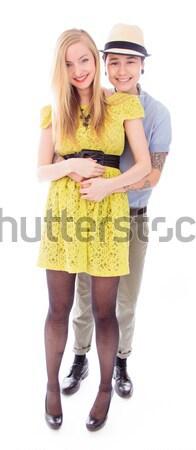 Leszbikus pár ruha mosolyog citromsárga boldogság Stock fotó © bmonteny