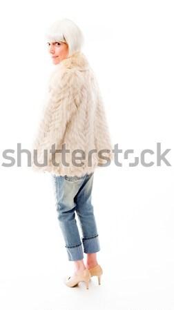 Senior vrouw tonen af spier jeans Stockfoto © bmonteny