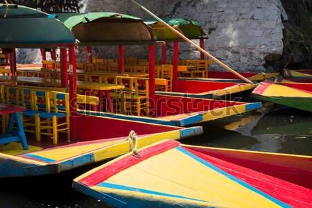 Csónak tó Mexikóváros Mexikó pad fotózás Stock fotó © bmonteny