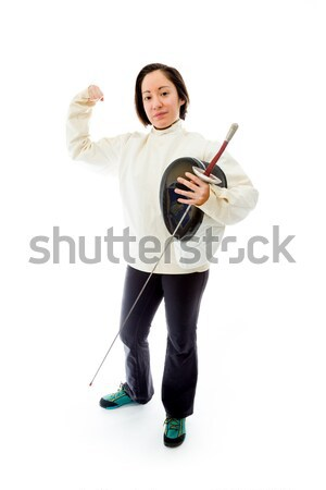 Female fencer making time out signal with hands Stock photo © bmonteny